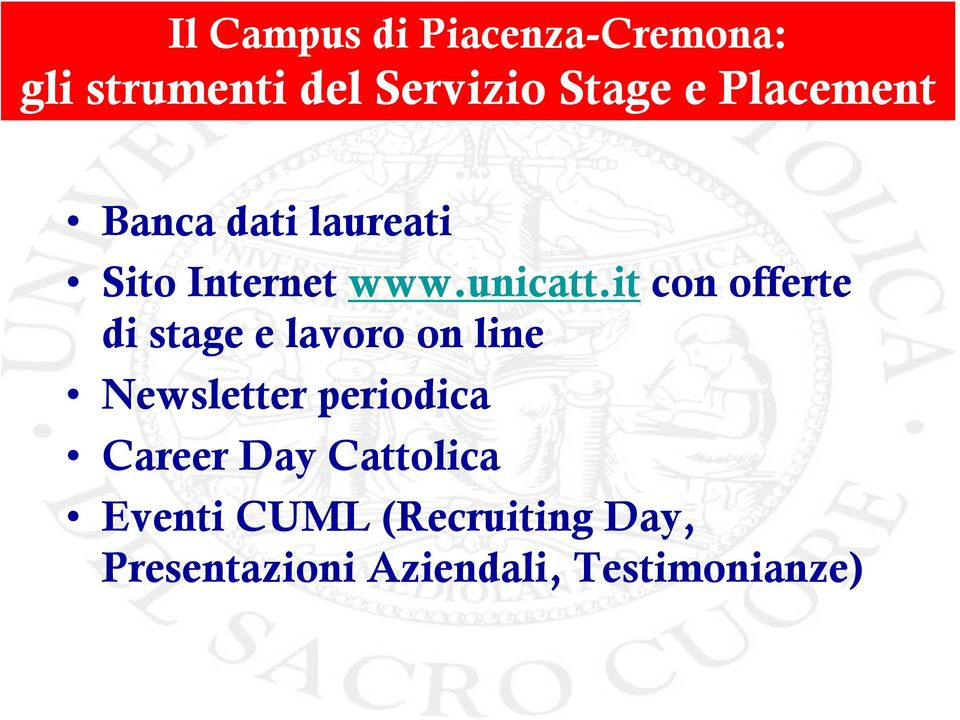 it con offerte di stage e lavoro on line Newsletter periodica Career