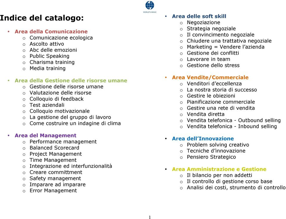 clima Area del Management o Performance management o Balanced Scorecard o Project Management o Time Management o Integrazione ed interfunzionalità o Creare committment o Safety management o Imparare