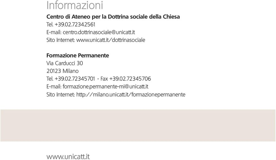 it Sito Internet: www.unicatt.