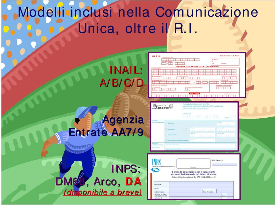 INAIL: A/B/C/D Agenzia Entrate AA7/9 INPS: