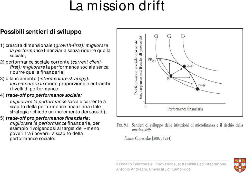 livelli di performance; 4) trade-off pro performance sociale: migliorare la performance sociale corrente a scapito della performance finanziaria (tale strategia richiede un incremento dei