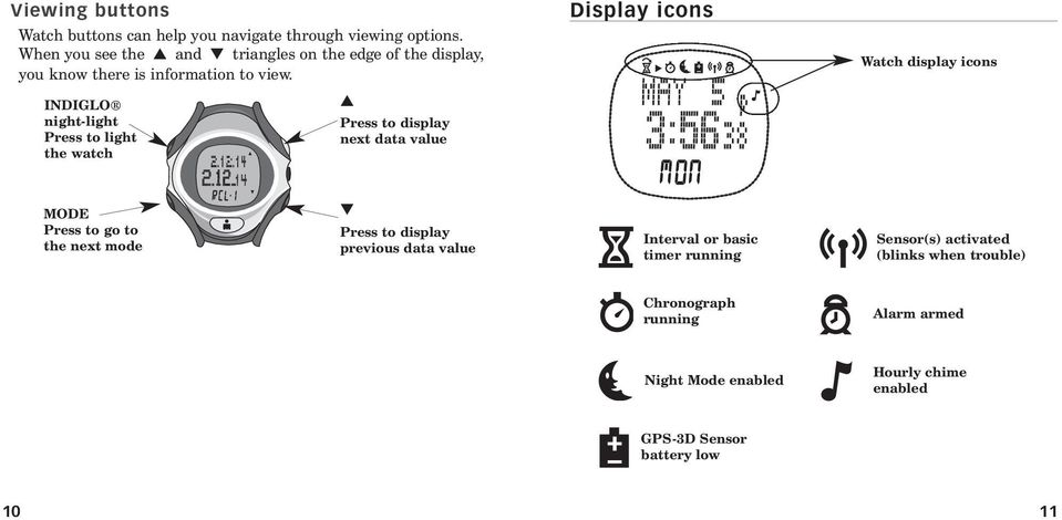 INDIGLO night-light Press to light the watch Press to display next data value Display icons Watch display icons MODE Press to go to