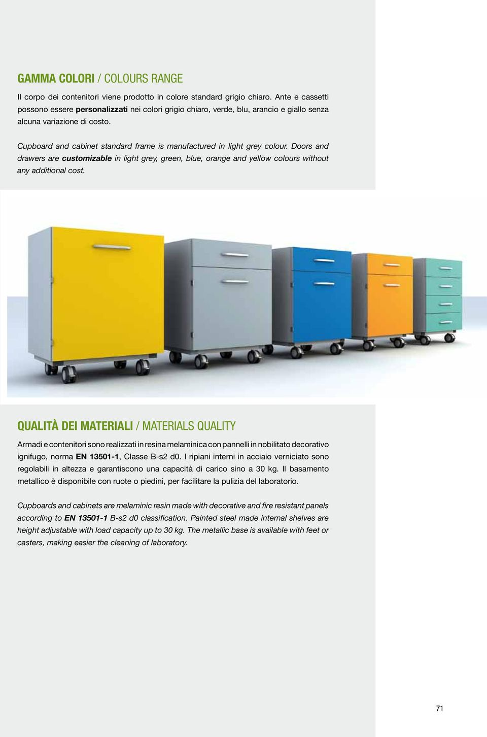 Cupboard and cabinet standard frame is manufactured in light grey colour. Doors and drawers are customizable in light grey, green, blue, orange and yellow colours without any additional cost.