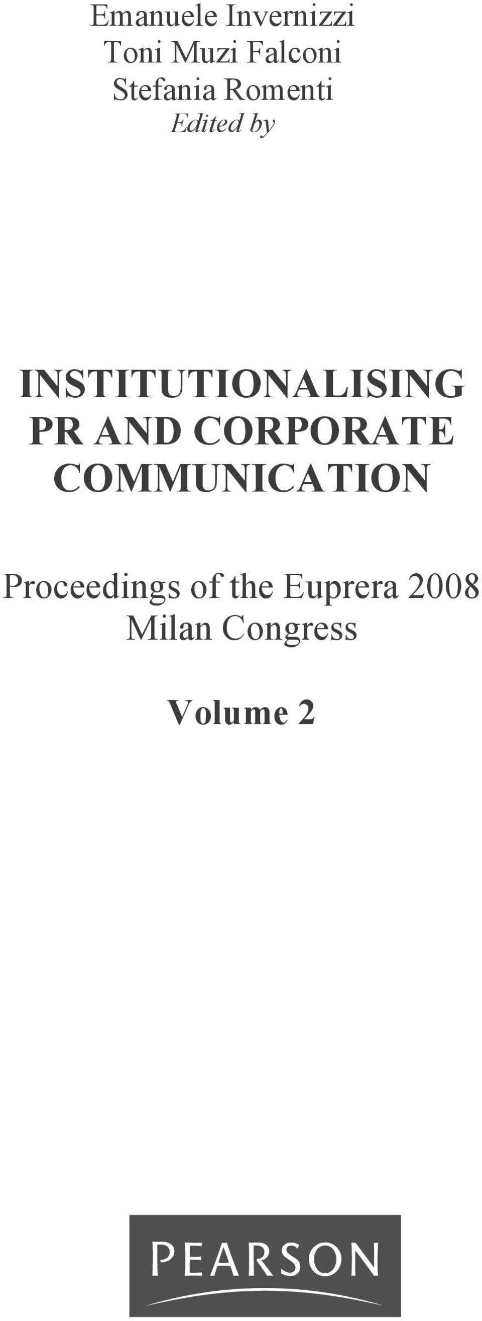 CORPORATE COMMUNICATION Proceedings of the Euprera