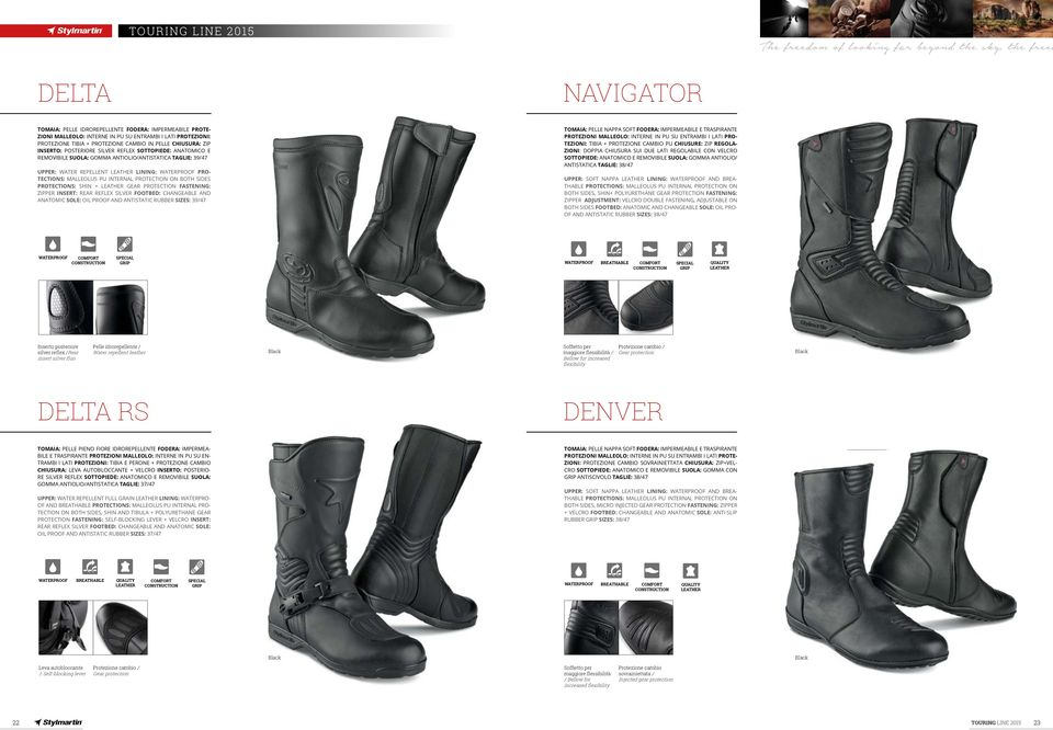 WATER REPELLENT LINING: PRO- TECTIONS: MALLEOLUS PU INTERNAL PROTECTION ON BOTH SIDES PROTECTIONS: SHIN + GEAR PROTECTION FASTENING: ZIPPER INSERT: REAR REFLEX SILVER FOOTBED: CHANGEABLE AND ANATOMIC