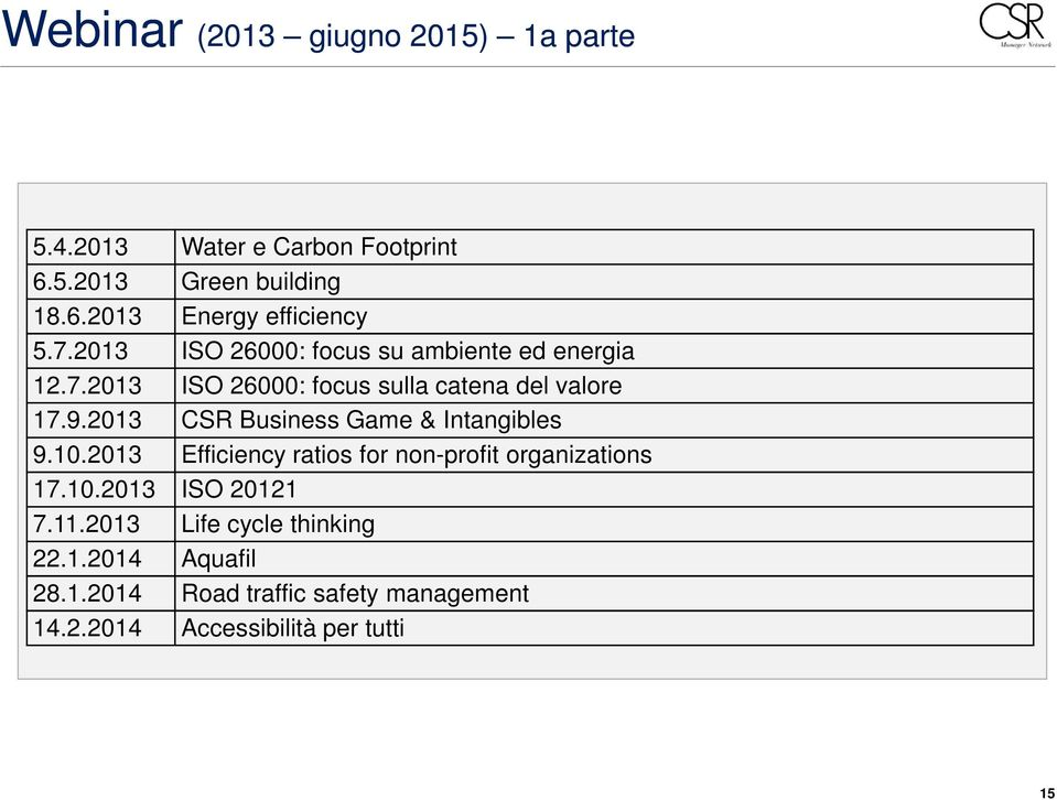 2013 CSR Business Game & Intangibles 9.10.2013 Efficiency ratios for non-profit organizations 17.10.2013 ISO 20121 7.
