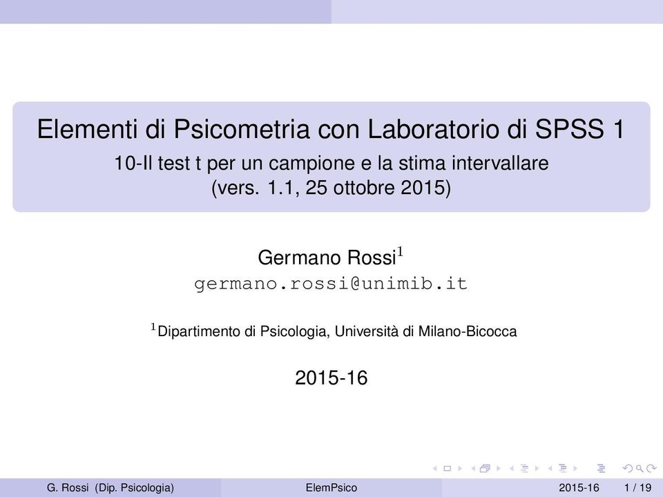 1, 25 ottobre 2015) Germano Rossi 1 germano.rossi@unimib.