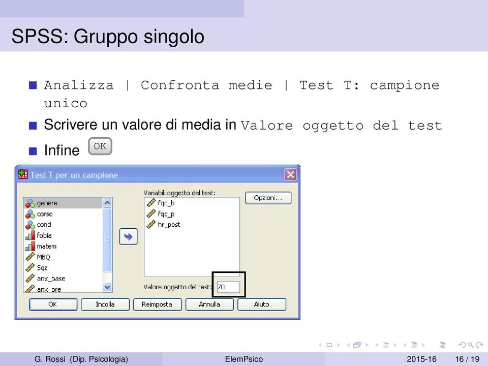 media in Valore oggetto del test Infine OK G.