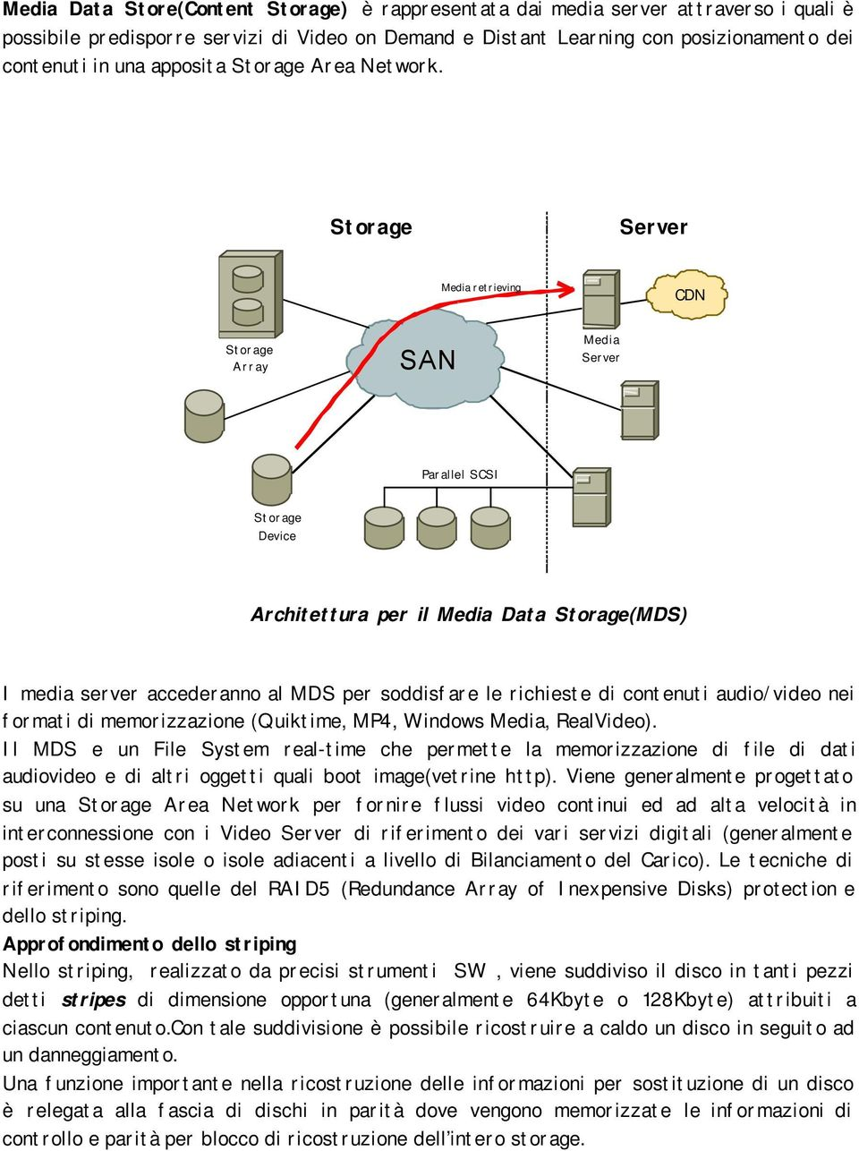 Storage Server Media retrieving CDN Storage Array SAN Media Server Parallel SCSI Storage Device Architettura per il Media Data Storage(MDS) I media server accederanno al MDS per soddisfare le