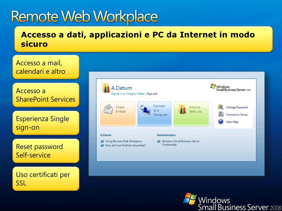 Accesso a SharePoint Services Esperienza Single