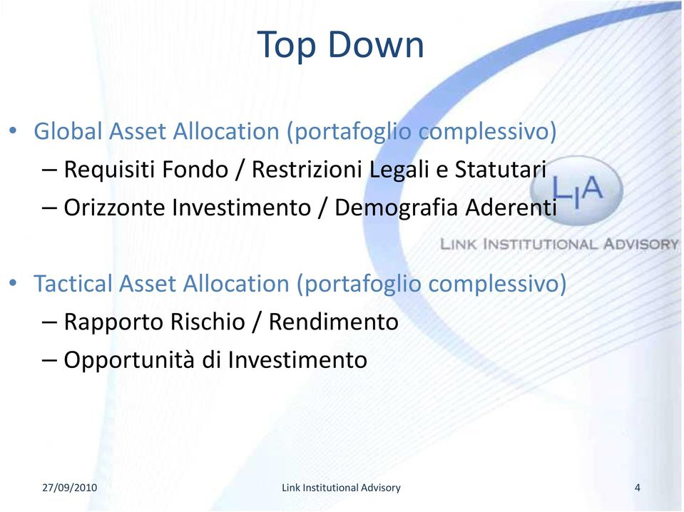 Investimento / Demografia Aderenti Tactical Asset Allocation