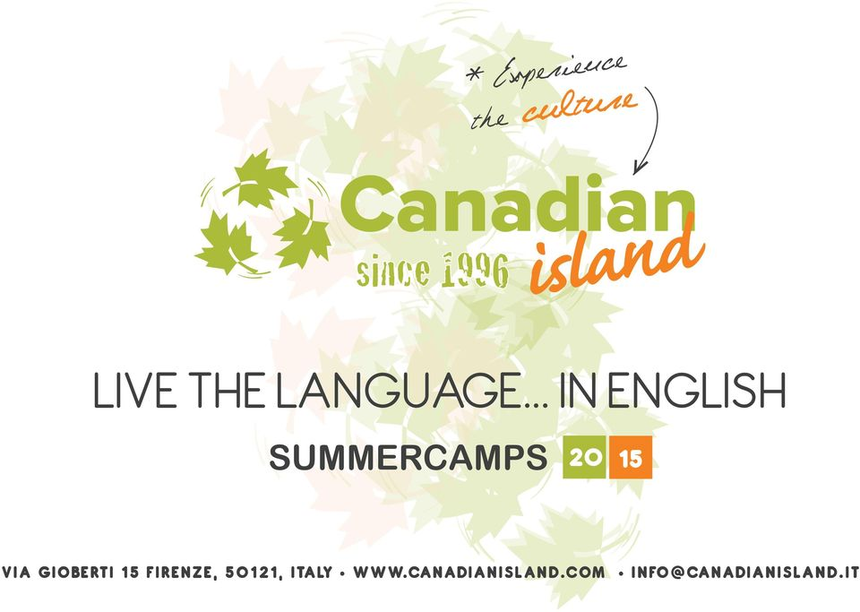 .. IN ENGLISH SUMMERCAMPS 20 15 VIA