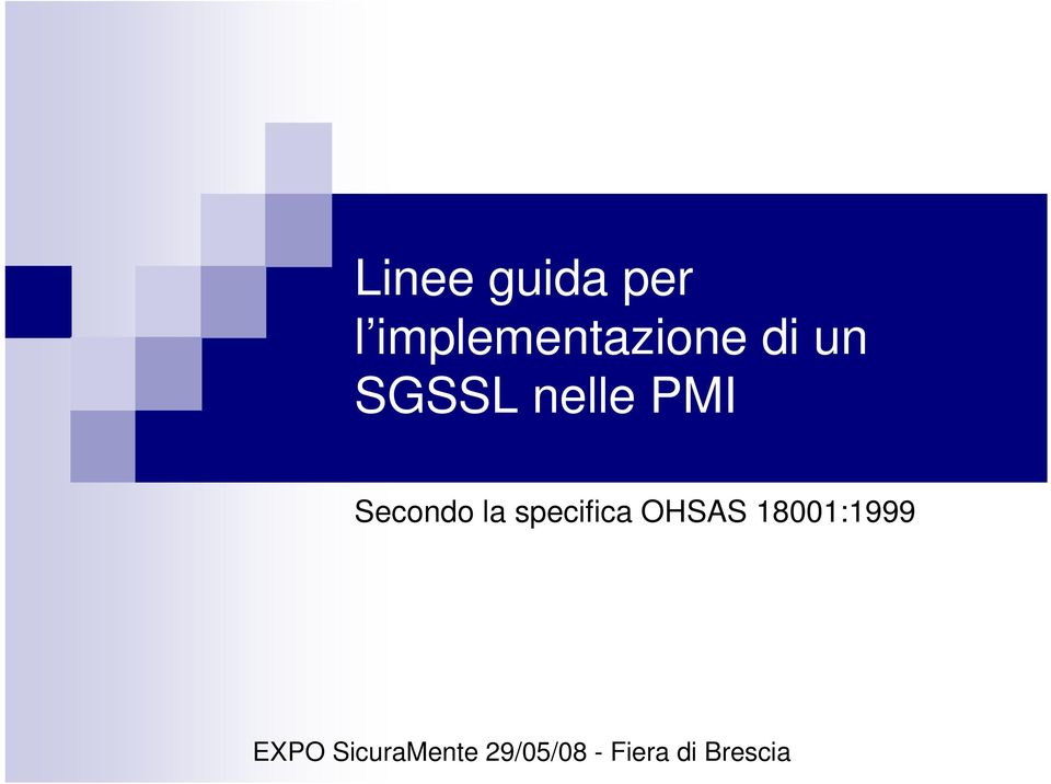 specifica OHSAS 18001:1999 EXPO