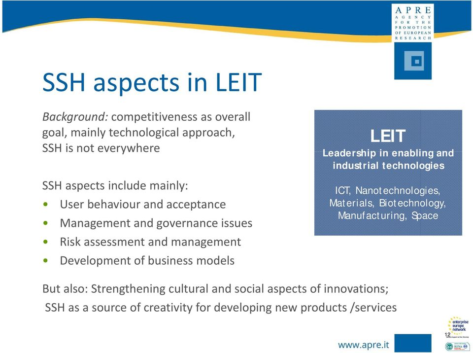 models LEIT Leadership in enabling and industrial technologies ICT, Nanotechnologies, Materials, Biotechnology, Manufacturing, Space