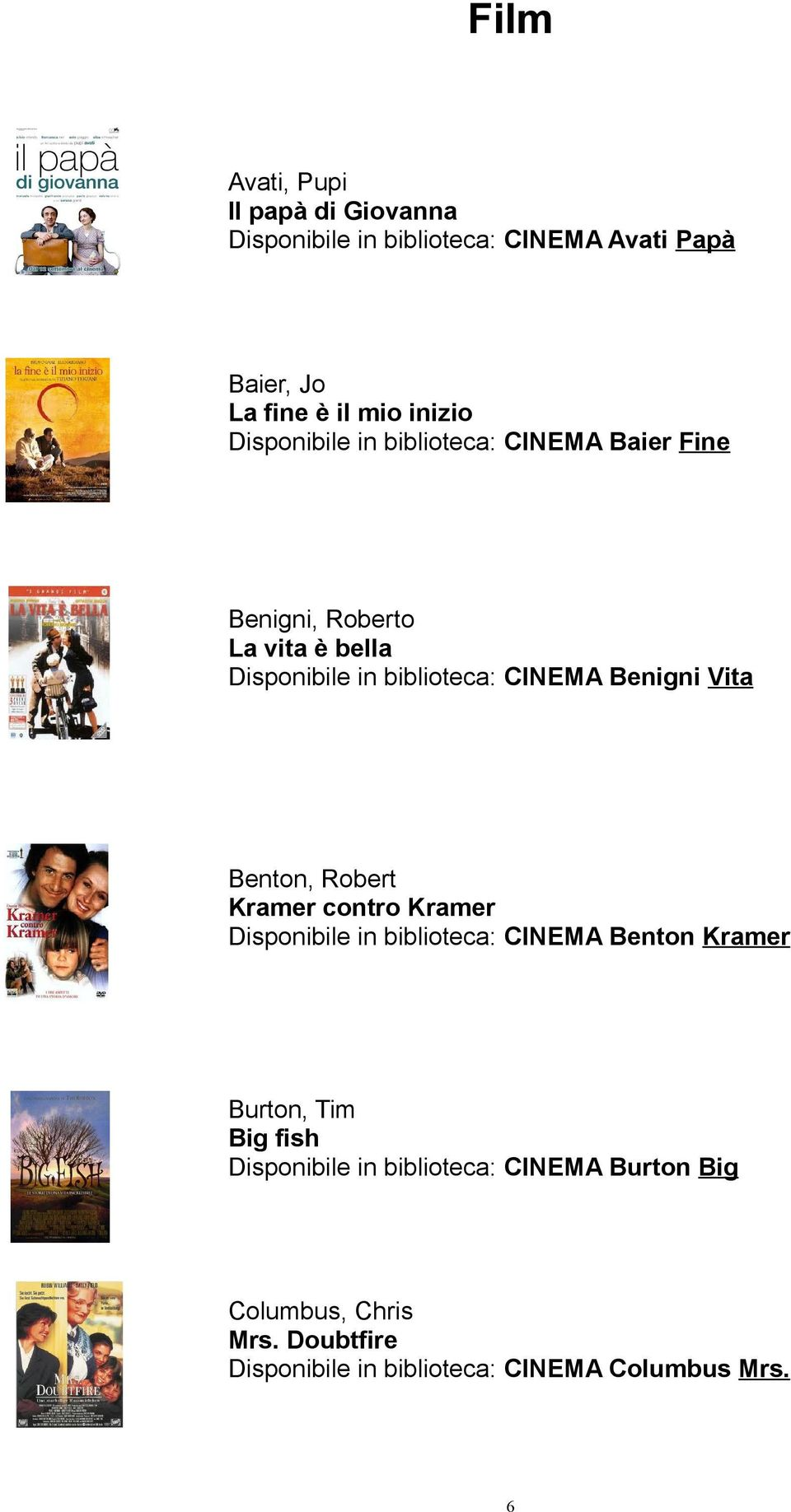 Benigni Vita Benton, Robert Kramer contro Kramer Disponibile in biblioteca: CINEMA Benton Kramer Burton, Tim Big fish