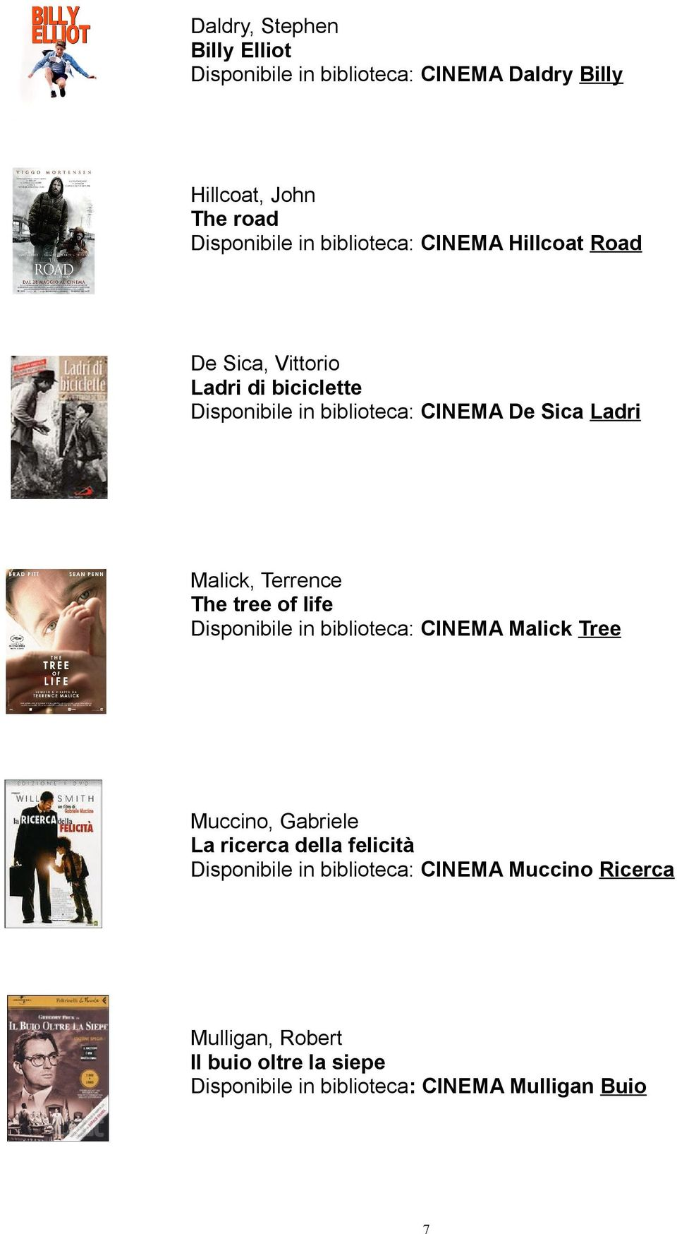 Malick, Terrence The tree of life Disponibile in biblioteca: CINEMA Malick Tree Muccino, Gabriele La ricerca della felicità