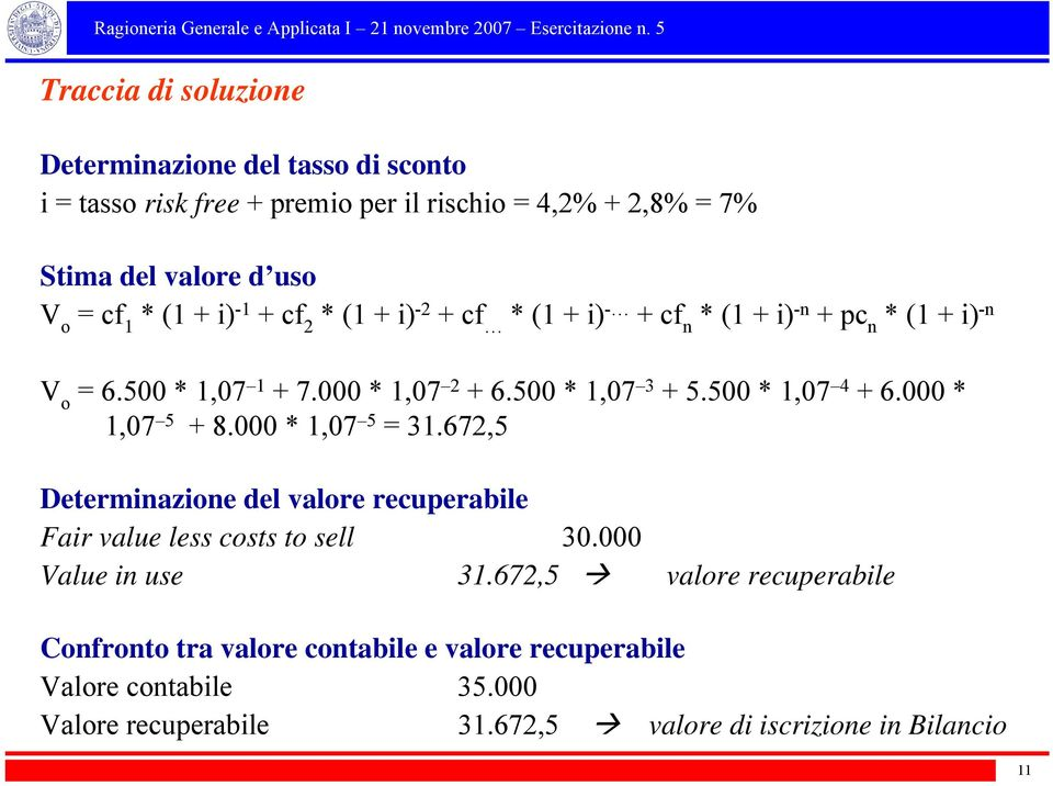 500 * 1,07 4 + 6.000 * 1,07 5 + 8.000 * 1,07 5 = 31.672,5 Determinazione del valore recuperabile Fair value less costs to sell 30.000 Value in use 31.