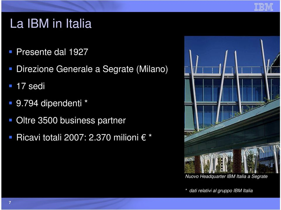 794 dipendenti * Oltre 3500 business partner Ricavi totali