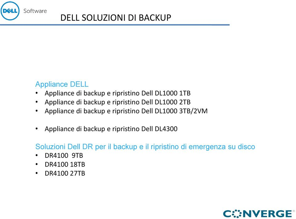 ripristino Dell DL1000 3TB/2VM Appliance di backup e ripristino Dell DL4300