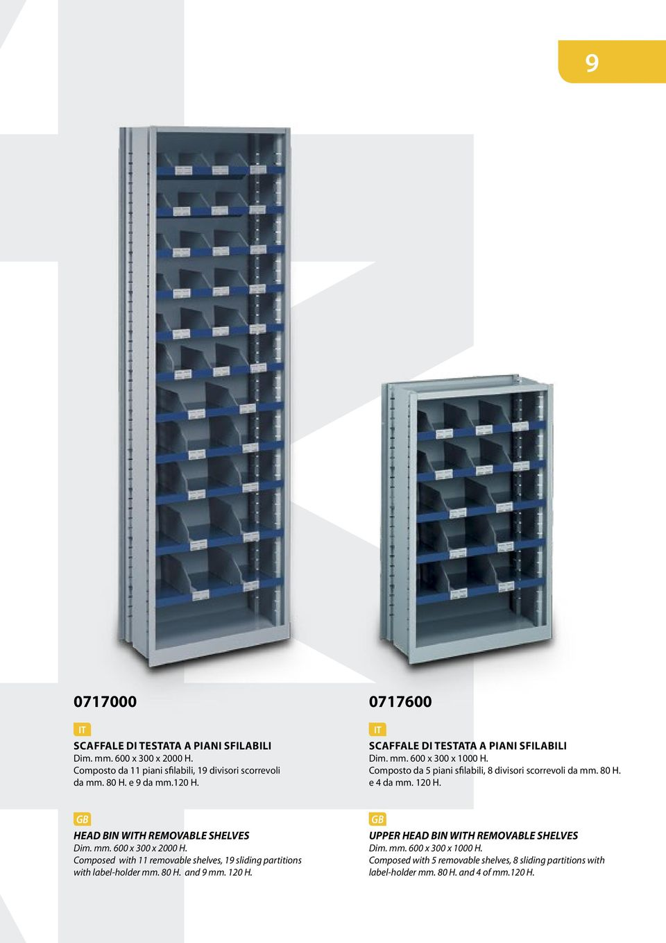 HEAD BIN WH REMOVABLE SHELVES Dim. mm. 600 x 300 x 2000 H. Composed with 11 removable shelves, 19 sliding partitions with label-holder mm. 80 H. and 9 mm. 120 H.