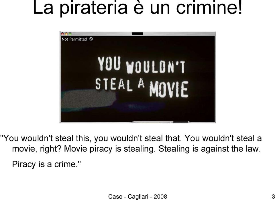 movie piracy is stealing The film raises powerful questions about piracy, intellectual property  to  feature bittorrent and the pirate bay specifically -- steal this film  i agree that  stealing our work is bad, but the whole system needs a rethinking.