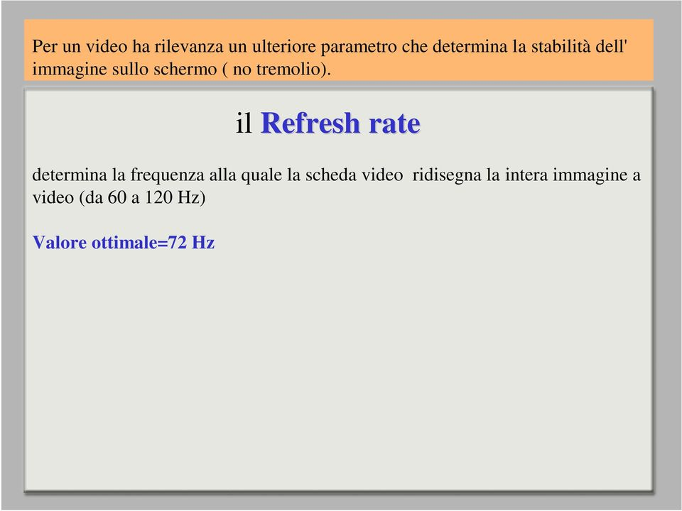 determina la frequenza alla quale la scheda video ridisegna la