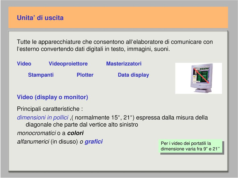 Video Videoproiettore Masterizzatori Stampanti Plotter Data display Video (display o monitor) Principali caratteristiche : dimensioni in