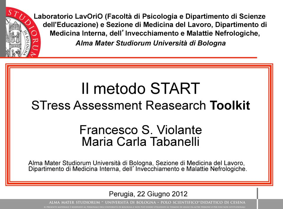 metodo START STress Assessment Reasearch Toolkit Francesco S.