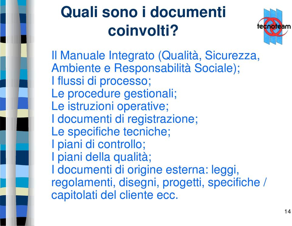 Le procedure gestionali; Le istruzioni operative; I documenti di registrazione; Le specifiche