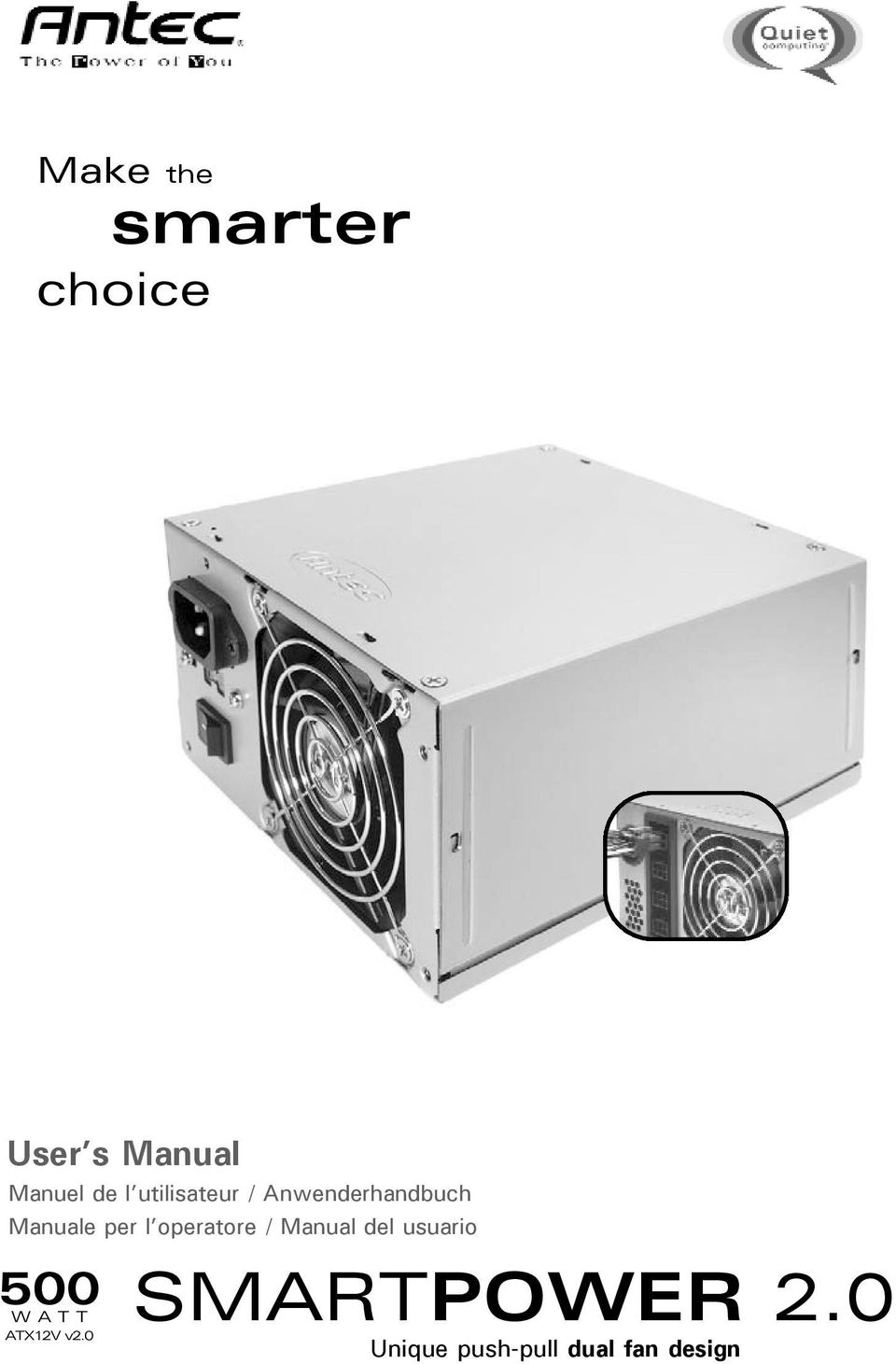 operatore / Manual del usuario 500 WATT ATX12V