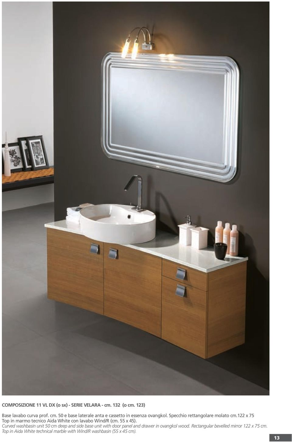 Curved washbasin unit 50 cm deep and side base unit with door panel and drawer in ovangkol wood.