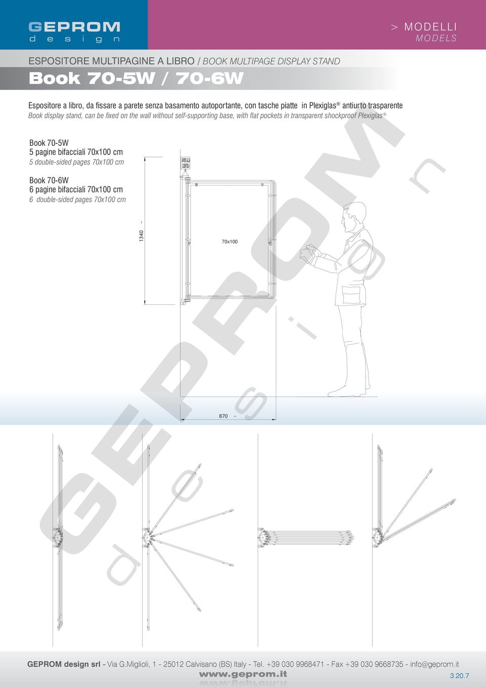 pockets in transparent shockproof Plexiglas Book 70-5W 5 pagine bifacciali 70x100 cm 5 double-sided pages 70x100 cm