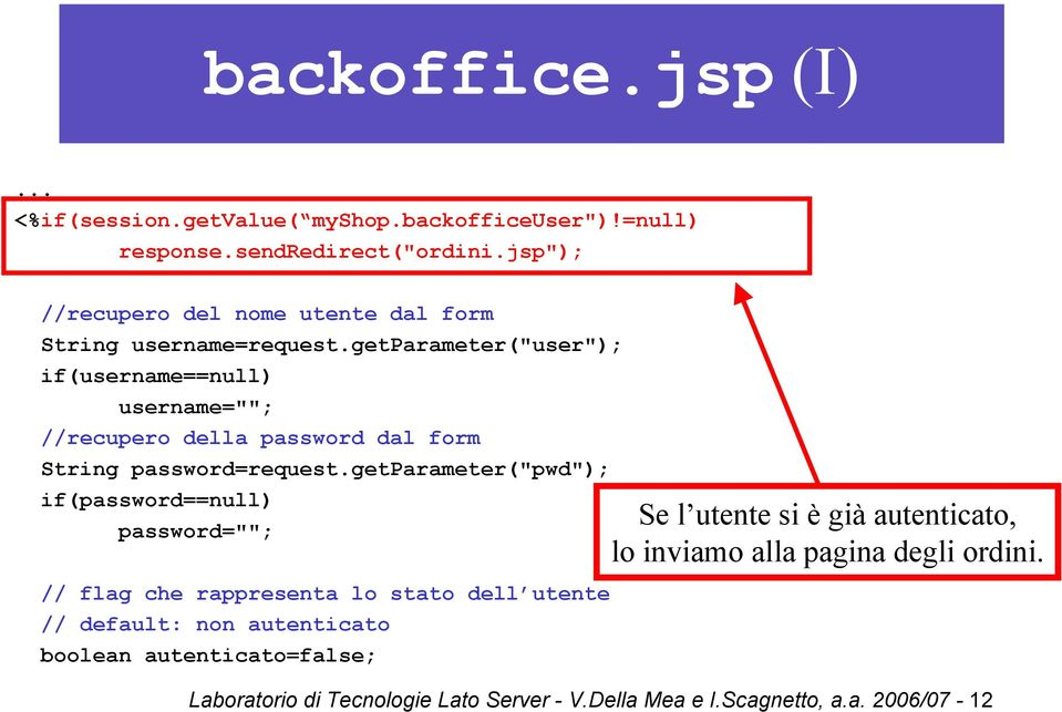 "getparameter(""user""); if(username==null) username=""""; //recupero della password dal form String password=request."