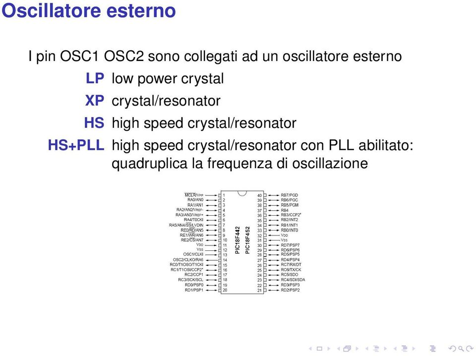 HS high speed crystal/resonator HS+PLL high speed