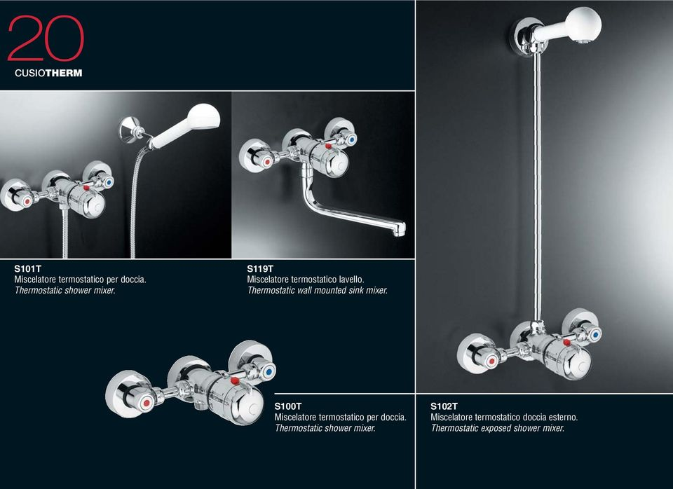 Thermostatic wall mounted sink mixer.