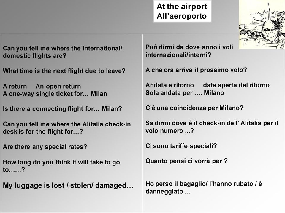 Are there any special rates? How long do you think it will take to go to? My luggage is lost / stolen/ damaged Può dirmi da dove sono i voli internazionali/interni?