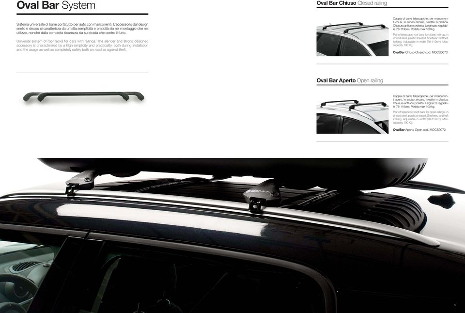 Universal system of roof racks for cars with railings.