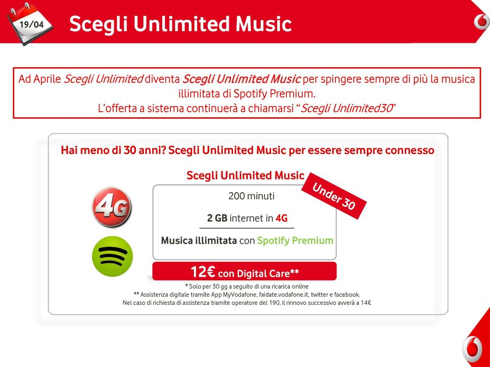 Scegli Unlimited Music per essere sempre connesso Scegli Unlimited Music 200 minuti 2 GB internet in 4G Musica illimitata con Spotify Premium 12 con Digital