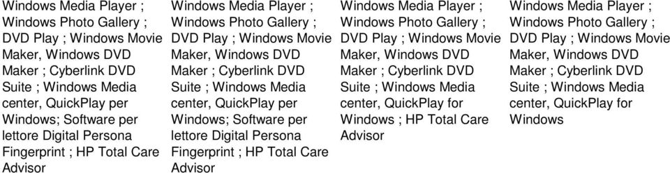 center, QuickPlay for Windows ; HP Total Care Advisor Windows Media Player ; center, QuickPlay