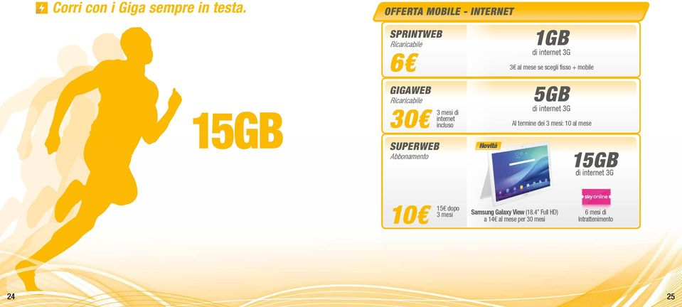 mobile 15GB GIGAWEB Ricaricabile 30 SUPERWEB Abbonamento 3 mesi di internet incluso Novità 5GB di