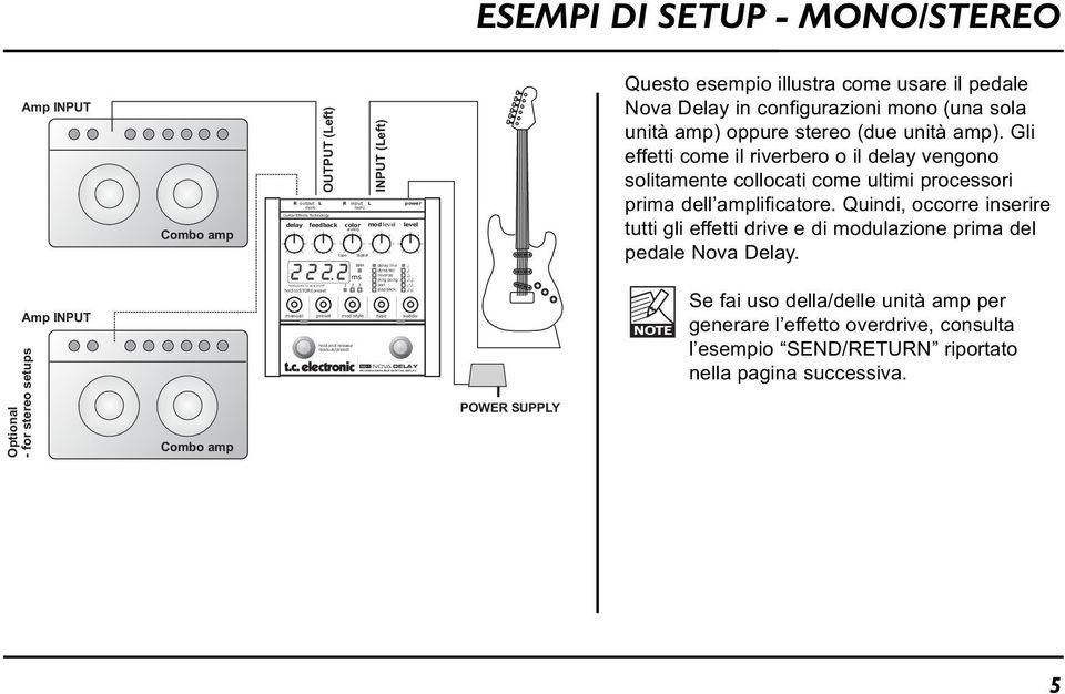 manual/preset ms delay line dynamic reverse ping pong pan slapback NOVA DELAY PROGRAMMABLE DIGITAL DELAY POWER SUPPLY Questo esempio illustra come usare il pedale Nova Delay in configurazioni mono