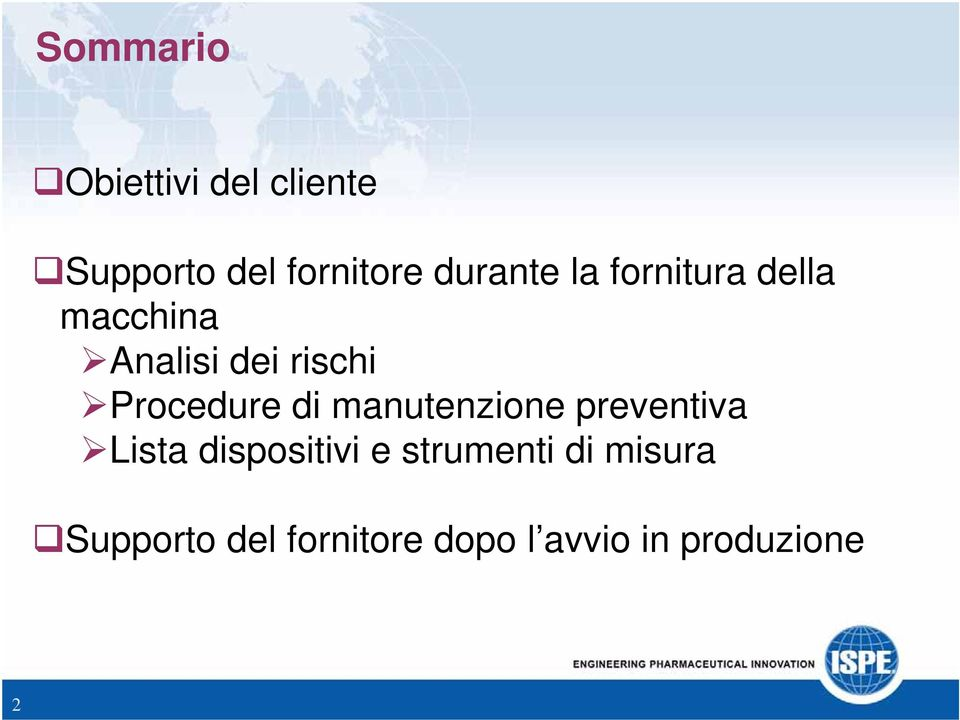 Procedure di manutenzione preventiva Lista dispositivi e