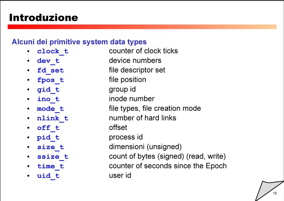 nlink_t number of hard links off_t offset pid_t process id size_t dimensioni (unsigned) ssize_t count of bytes