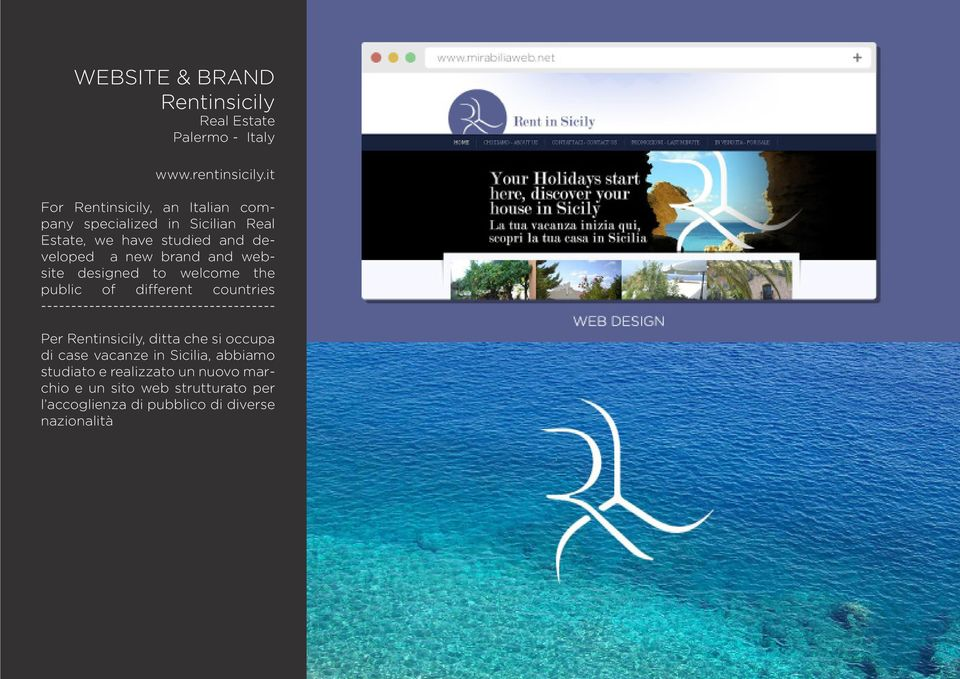 brand and website designed to welcome the public of different countries Per Rentinsicily, ditta che si occupa di