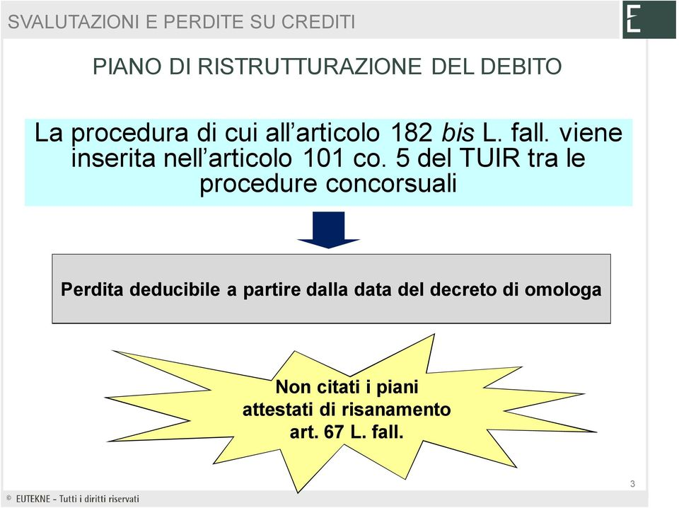 5 del TUIR tra le procedure concorsuali Perdita deducibile a partire