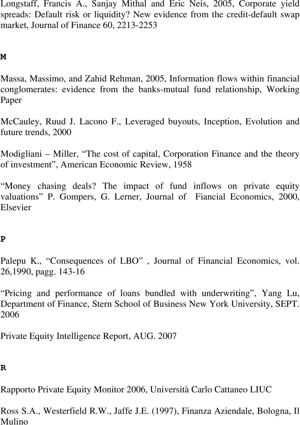 banks-mutual fund relationship, Working Paper McCauley, Ruud J. Lacono F.