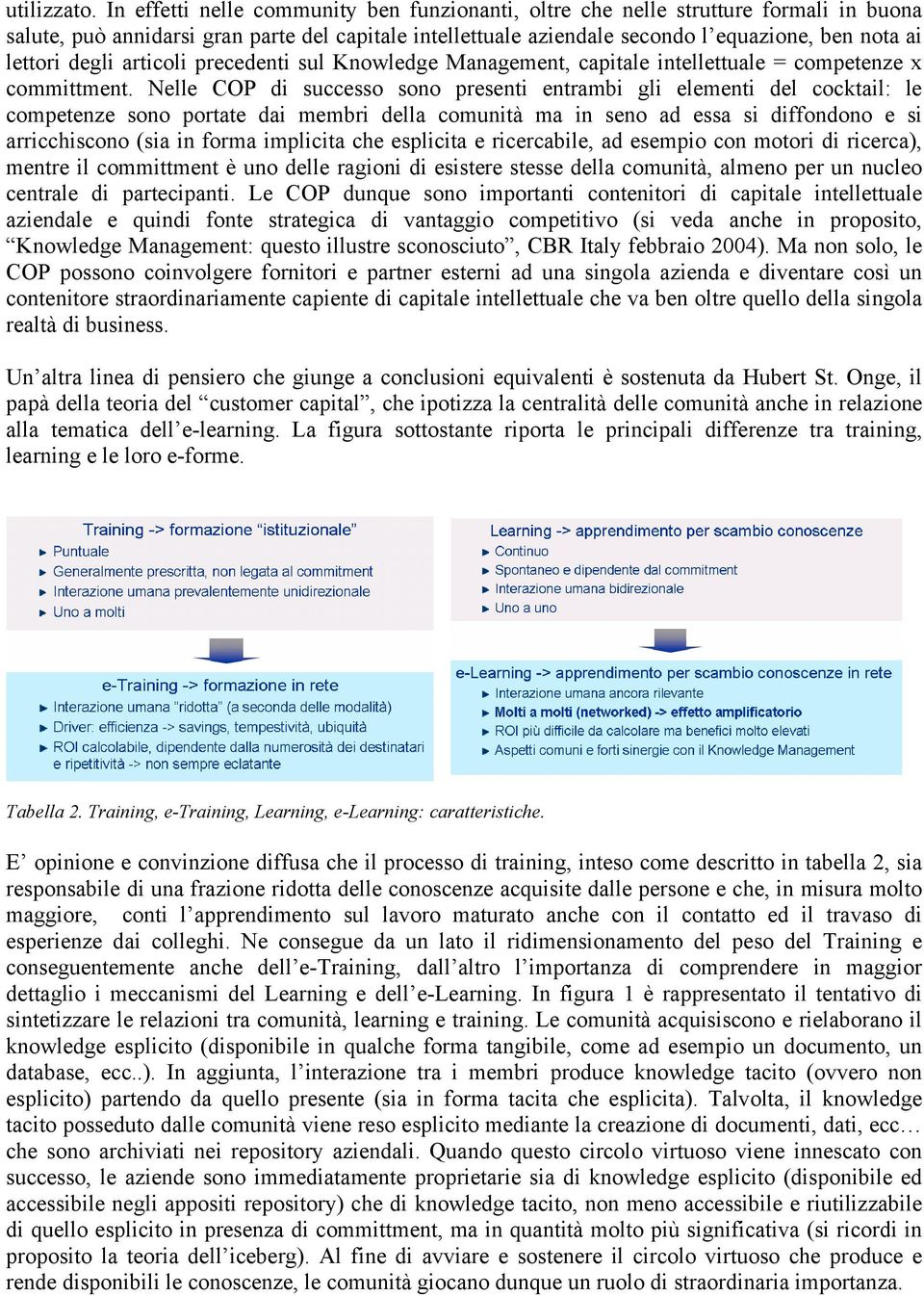 degli articoli precedenti sul Knowledge Management, capitale intellettuale = competenze x committment.