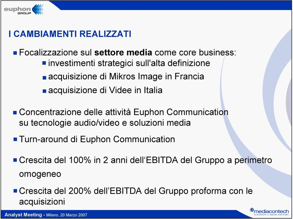 Euphon Communication su tecnologie audio/video e soluzioni media Turn-around di Euphon Communication Crescita del