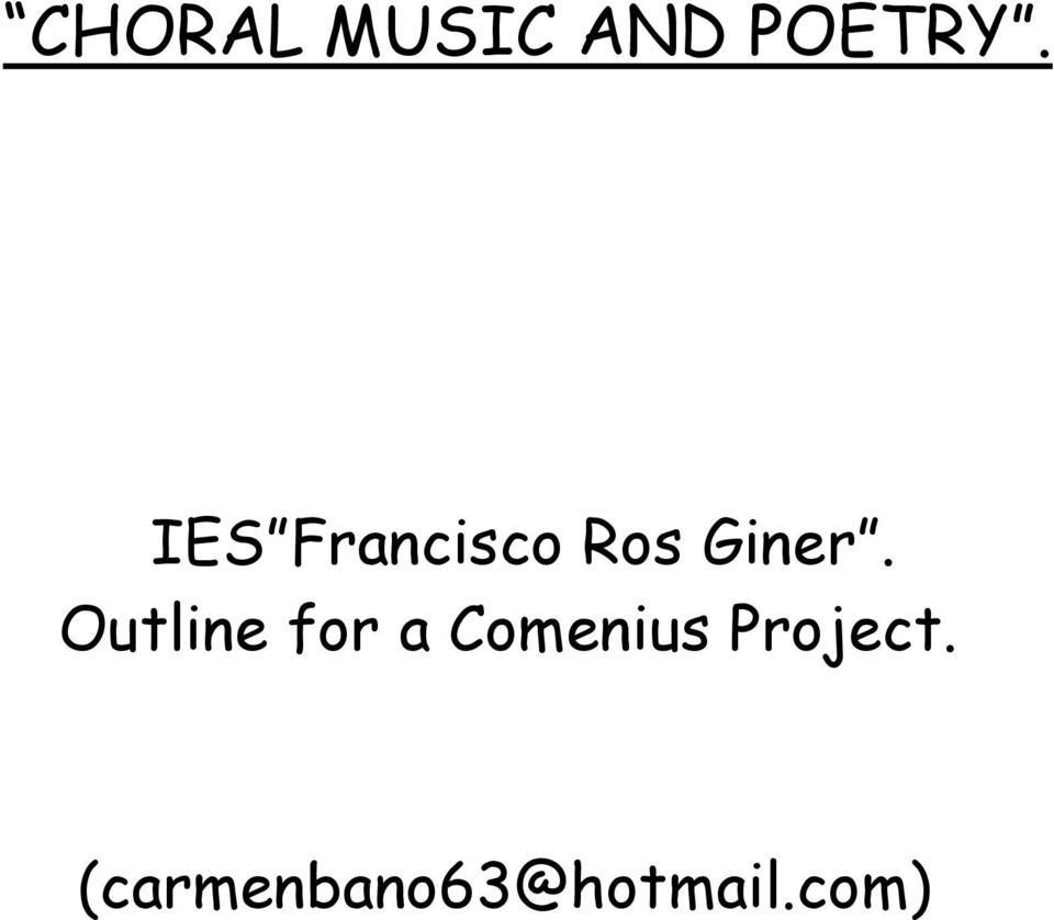 Outline for a Comenius