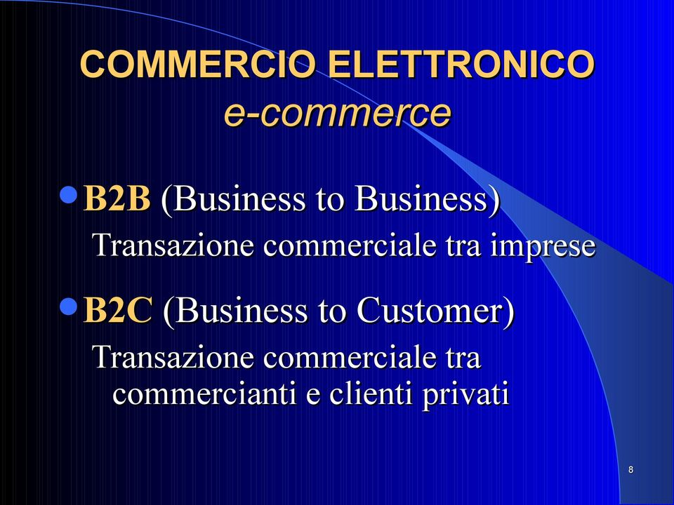 commerciale tra imprese B2C (Business to